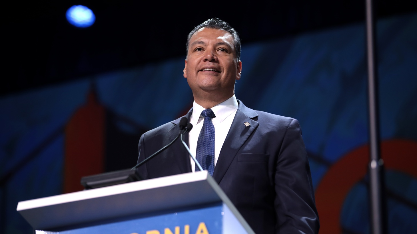 Alex Padilla speaking with attendees at the 2019 California Democratic Party State Convention at the George R. Moscone Convention Center in San Francisco, California.