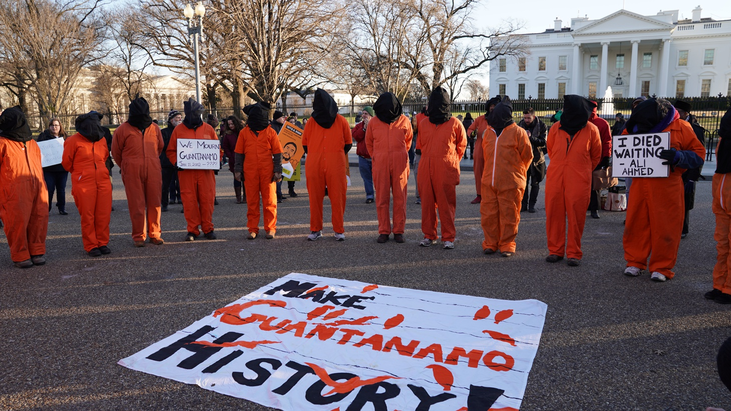 Witness Against Torture activists demonstrate at the White House, calling for the closing of the Guantánamo Bay detention camp on the 17th anniversary of its opening, January 11, 2019.