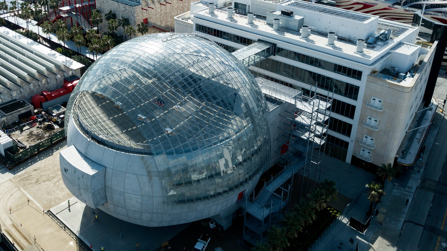 """An aerial view shows """"the Death Star"""" theater at the Academy Museum of Motion Pictures in Los Angeles, March 11, 2021."""