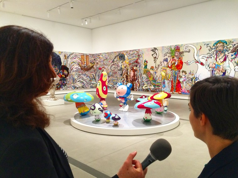 Sculptures and paintings from Japanese artist Takashi Murakami occupy a gallery on the first floor of the brand new Broad Museum in Downtown Los Angeles.