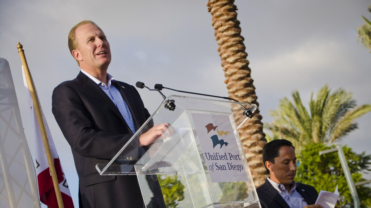 Kevin Faulconer speaking at the San Diego port in 2014. He just ended six years as San Diego's mayor. He now wants to be California's new governor if Gavin Newsom is recalled.