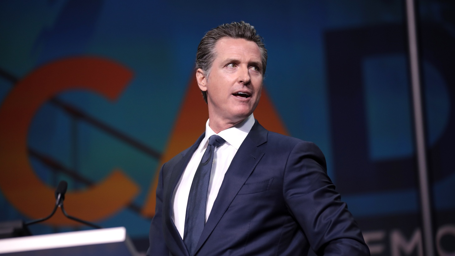 Governor Gavin Newsom speaking at the 2019 California Democratic Party State Convention at the George R. Moscone Convention Center in San Francisco, California. Newsom is now facing a recall effort that requires 1.5 million signatures by mid-March.