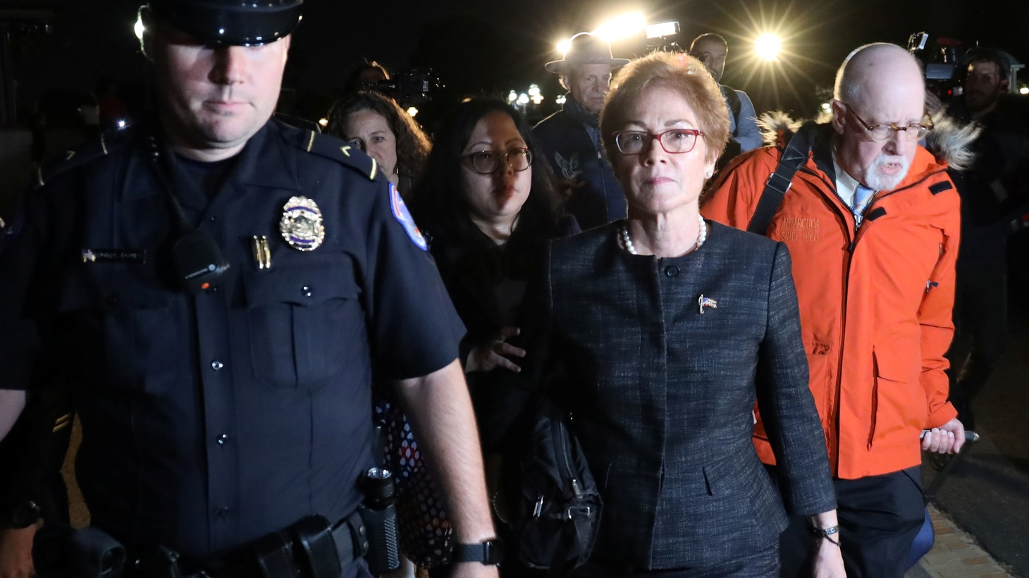 U.S. Capitol Police guide former U.S. ambassador to Ukraine Marie Yovanovitch as she departs after testifying in the U.S. House of Representatives impeachment inquiry into U.S. President Trump on Capitol Hill in Washington, U.S., October 11, 2019.