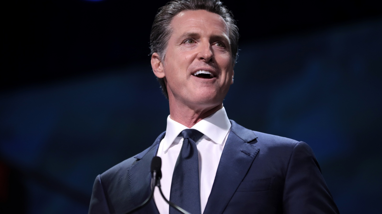 Governor Gavin Newsom speaking at the 2019 California Democratic Party State Convention at the George R. Moscone Convention Center in San Francisco, California.