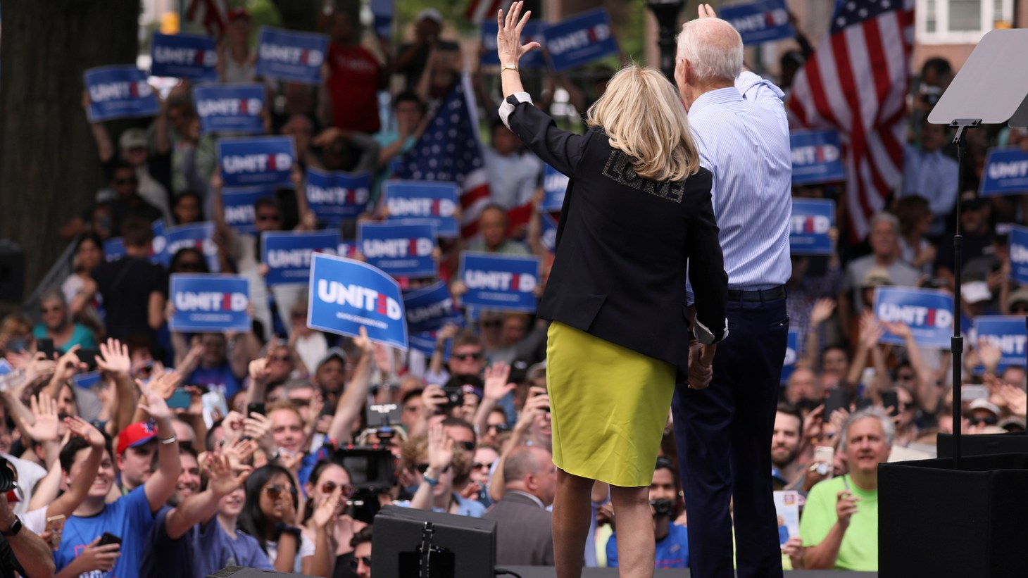 Joe Biden and his wife Jill Biden wave to the crowd at the end of his campaign rally in Philadelphia, Pennsylvania, U.S. May 18, 2019.