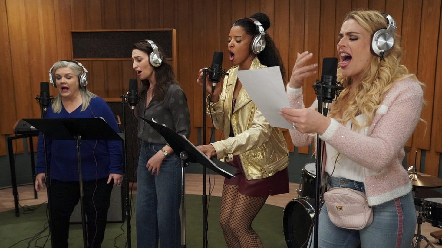 """In """"Girls5eva,"""" the surviving members of a late 1990s girls' group attempt to reunite in their forties. Pictured: Paula Pell as Gloria, Sara Bareilles as Dawn, Renée Elise Goldsberry as Wickie, Busy Philipps as Summer."""