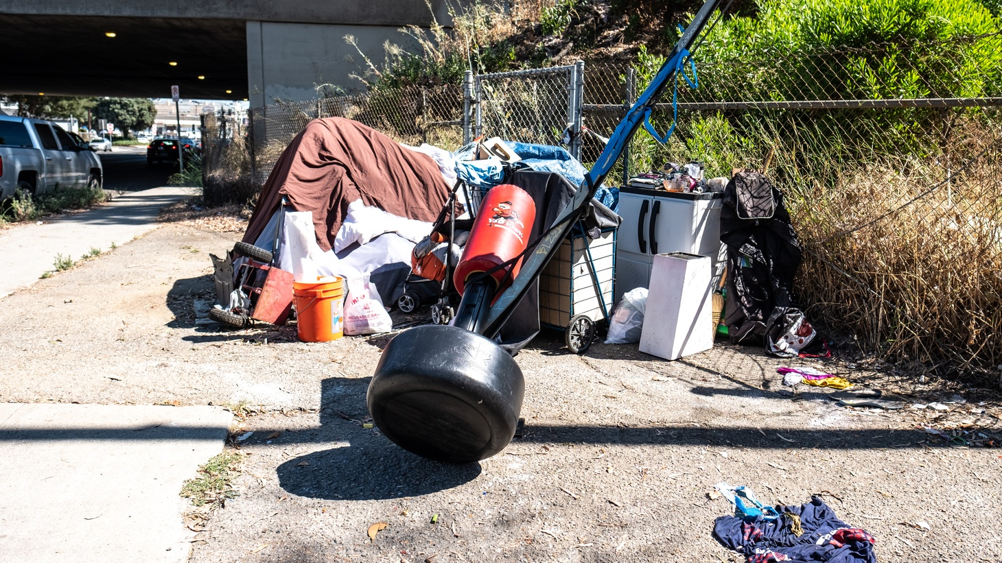 This homeless camp is just outside a freeway overpass in Santa Monica. A federal judge's order (effective May 22) says homeless encampments must be moved if they are near freeway overpasses.
