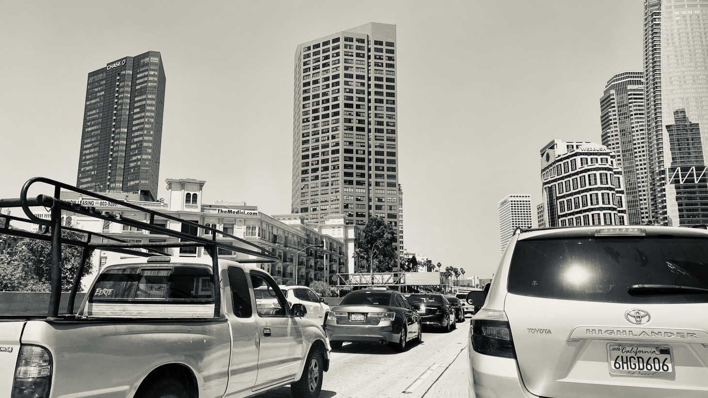 Traffic has returned to the 10 East freeway by downtown Los Angeles, May 15, 2020.