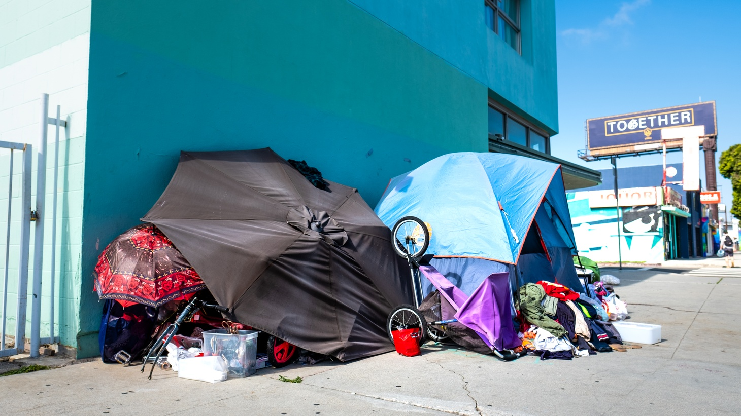 A homeless encampment in Mar Vista, April 18, 2020. The latest homeless count estimates the county's homeless population at 66,433, up nearly 13% from last year.