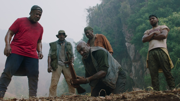 "Film critics Alonso Duralde and Dave White praise ""Da 5 Bloods,"" the Spike Lee film about four Black Vietnam veterans who return to Vietnam decades later to look for the remains of…"