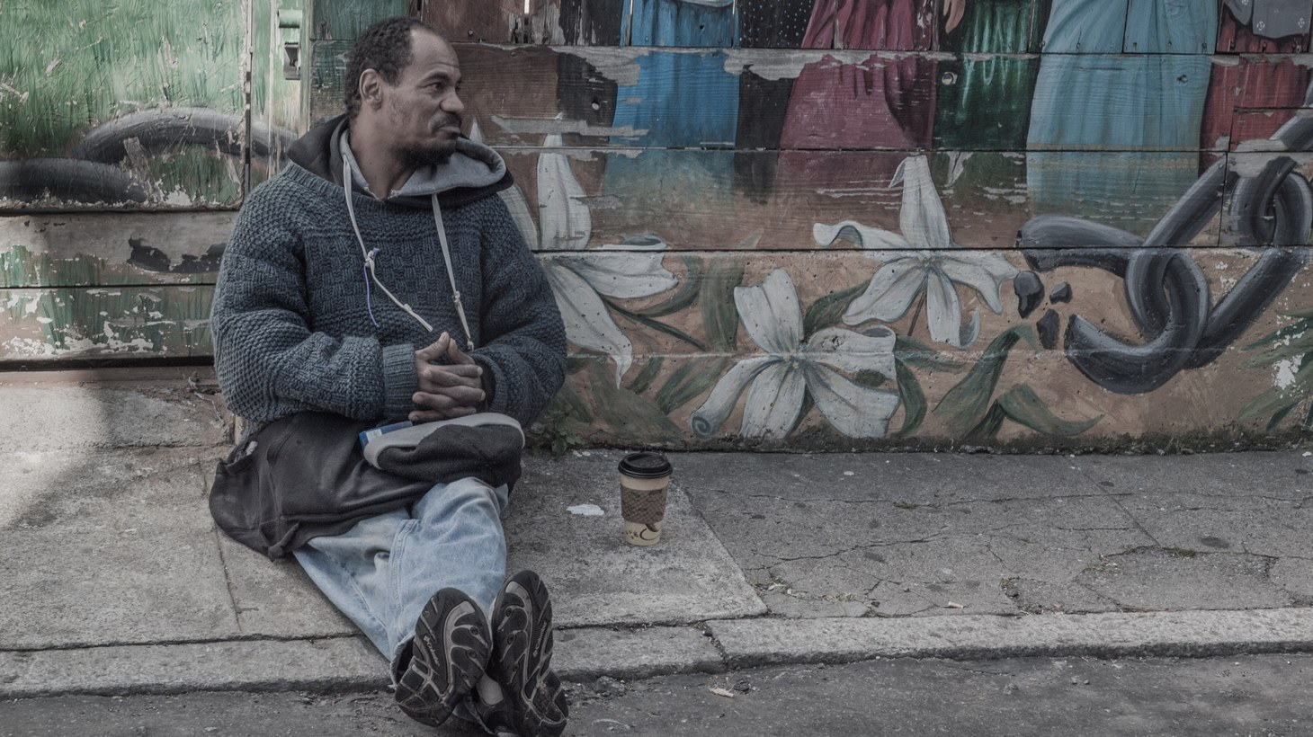 A homeless man in the Mission District, San Francisco, CA.