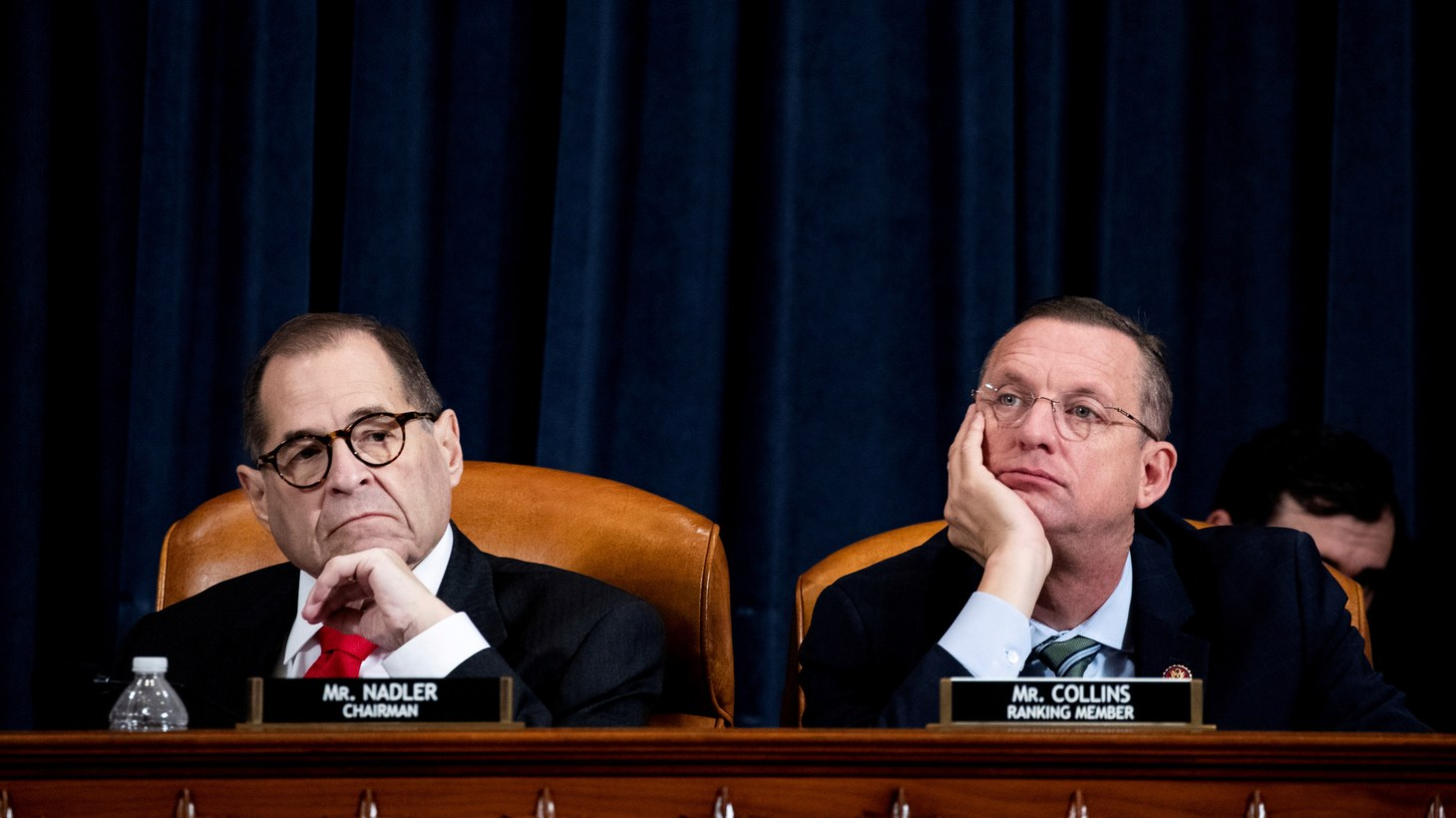 "House Judiciary Committee Chairman Jerrold ""Jerry"" Nadler (D-NY) and House Judiciary Committee Ranking Member Doug Collins (R-GA) listen to Daniel Goldman's, director of investigations for the House Intelligence Committee Democrats, opening statement a public impeachment inquiry hearing with the House Judiciary Committee on Capitol Hill in Washington, D.C., U.S., December 9, 2019."