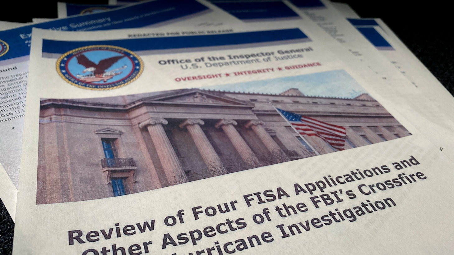 "The U.S. Justice Department's Inspector General Michael Horowitz's report entitled ""Review of Four FISA Applications and Other Aspects of the FBI's Crossfire Hurricane Investigation,"" Washington, U.S. December 9, 2019."