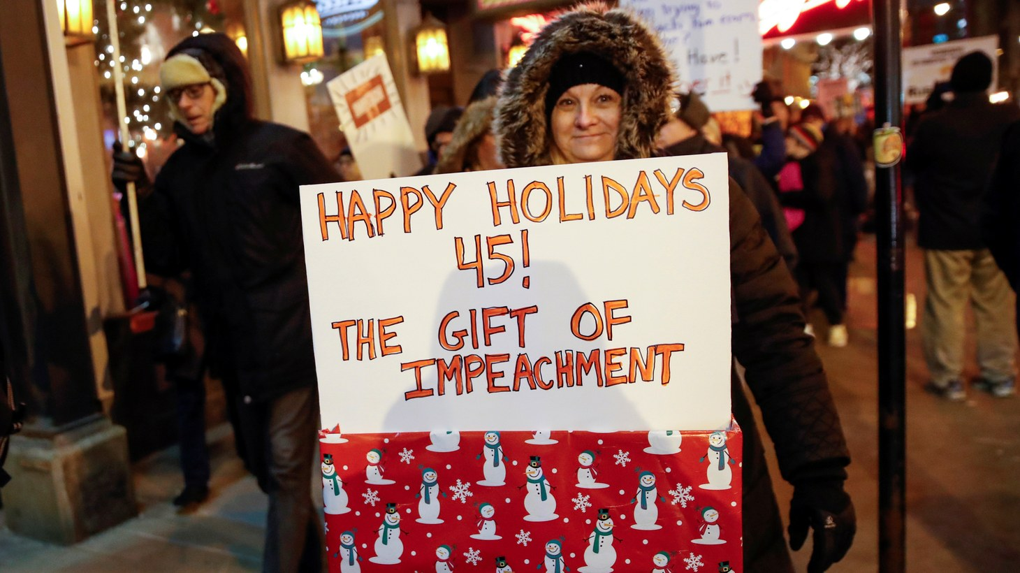 Protesters take part in a rally to support the impeachment and removal of U.S. President Donald Trump in Chicago, Illinois, U.S. December 17, 2019.