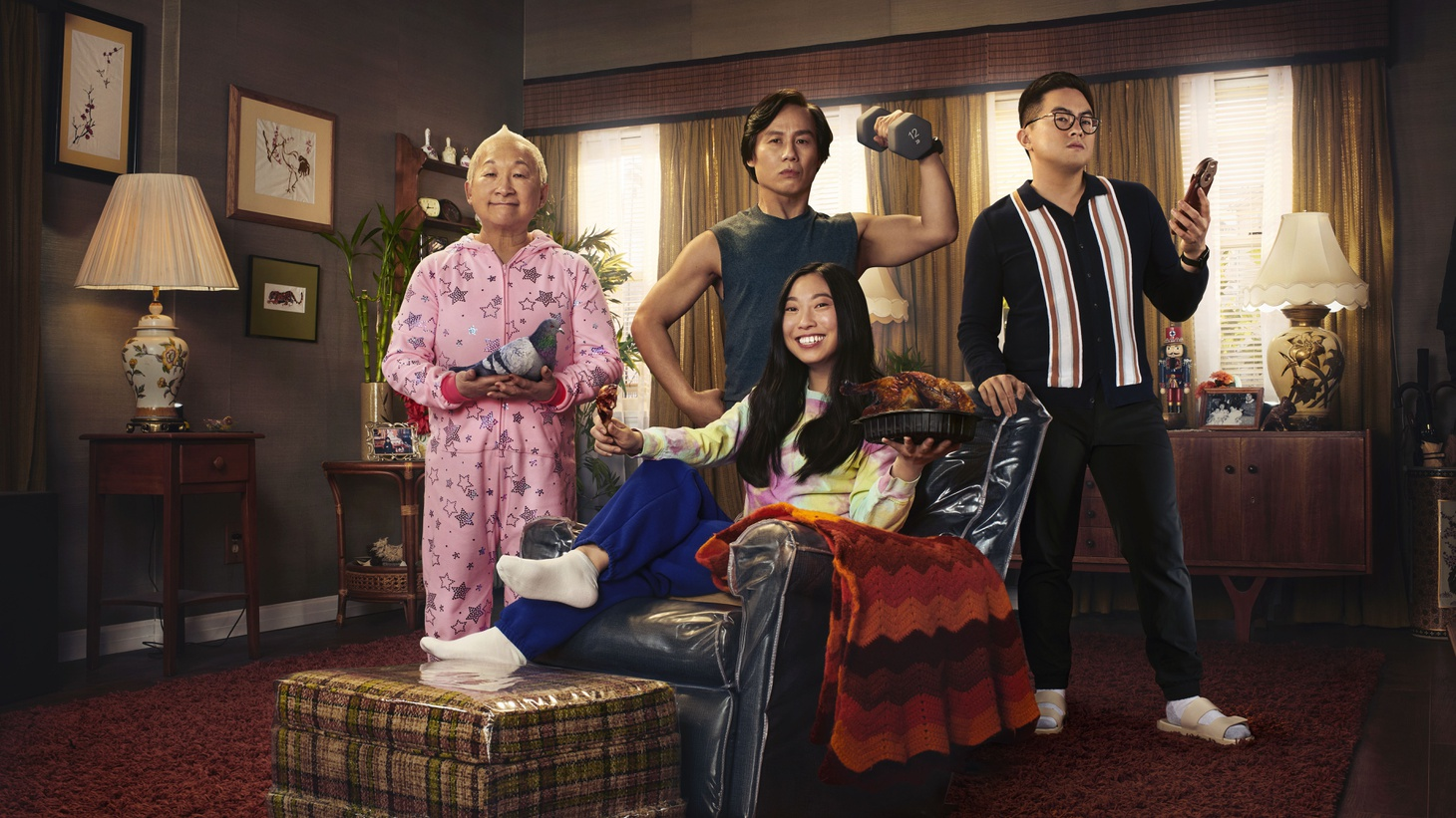 """B.D. Wong (back row, center) plays Wally in """"Awkwafina is Nora from Queens."""""""