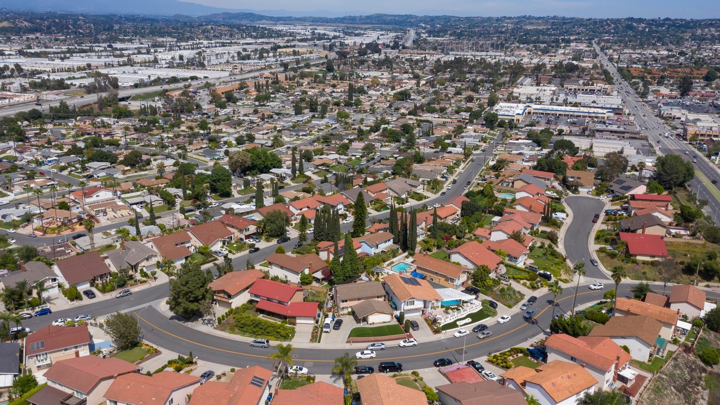 An aerial view shows homes in Rowland Heights, California.