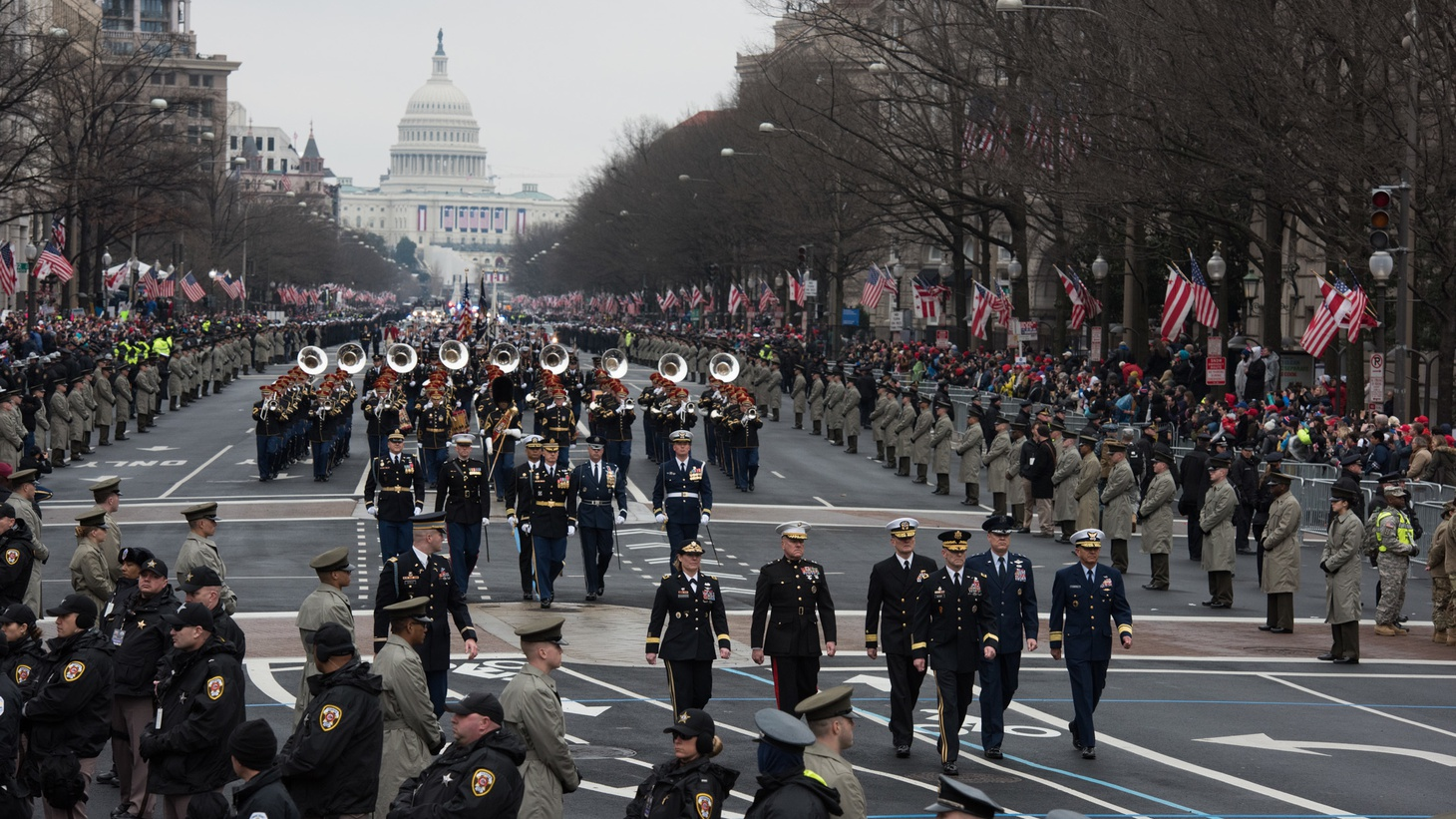 U.S. Servicemembers march down Pennsylvania Avenue during the Presidential Inaugural Parade in Washington D.C., January 20, 2017.