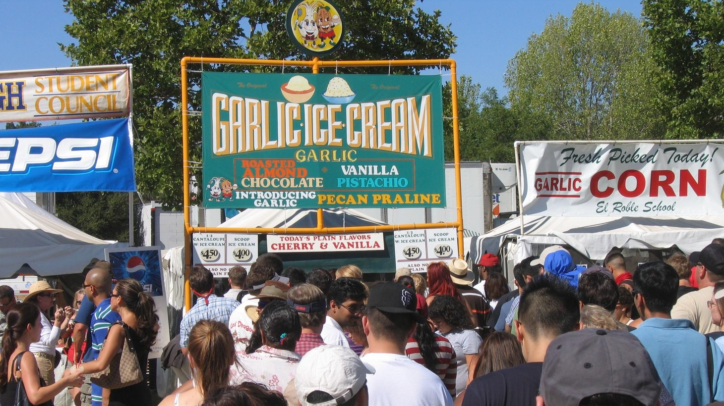 Food boths at the Gilroy Garlic Festival in 2007.