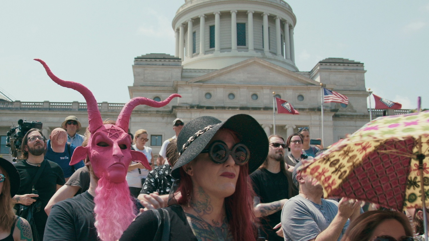 "Supporters of TST at the rally for religious liberty in Little Rock, AR, August 2018 in ""Hail Satan?"""