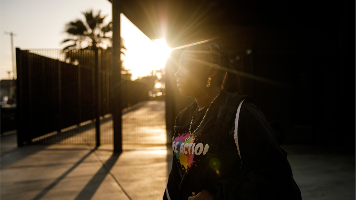 Jalyeah Collier gets ready to walk home from Hawkins High School after her after school program in Los Angeles, Calif., on Sept. 26, 2018.