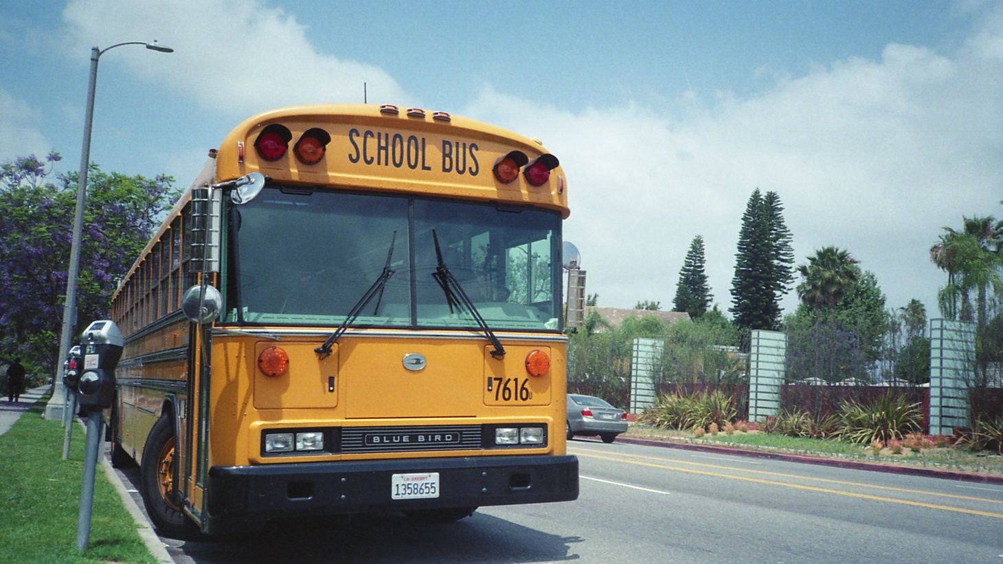 A front view of a school bus owned by Los Angeles Unified School District of Los Angeles, California.