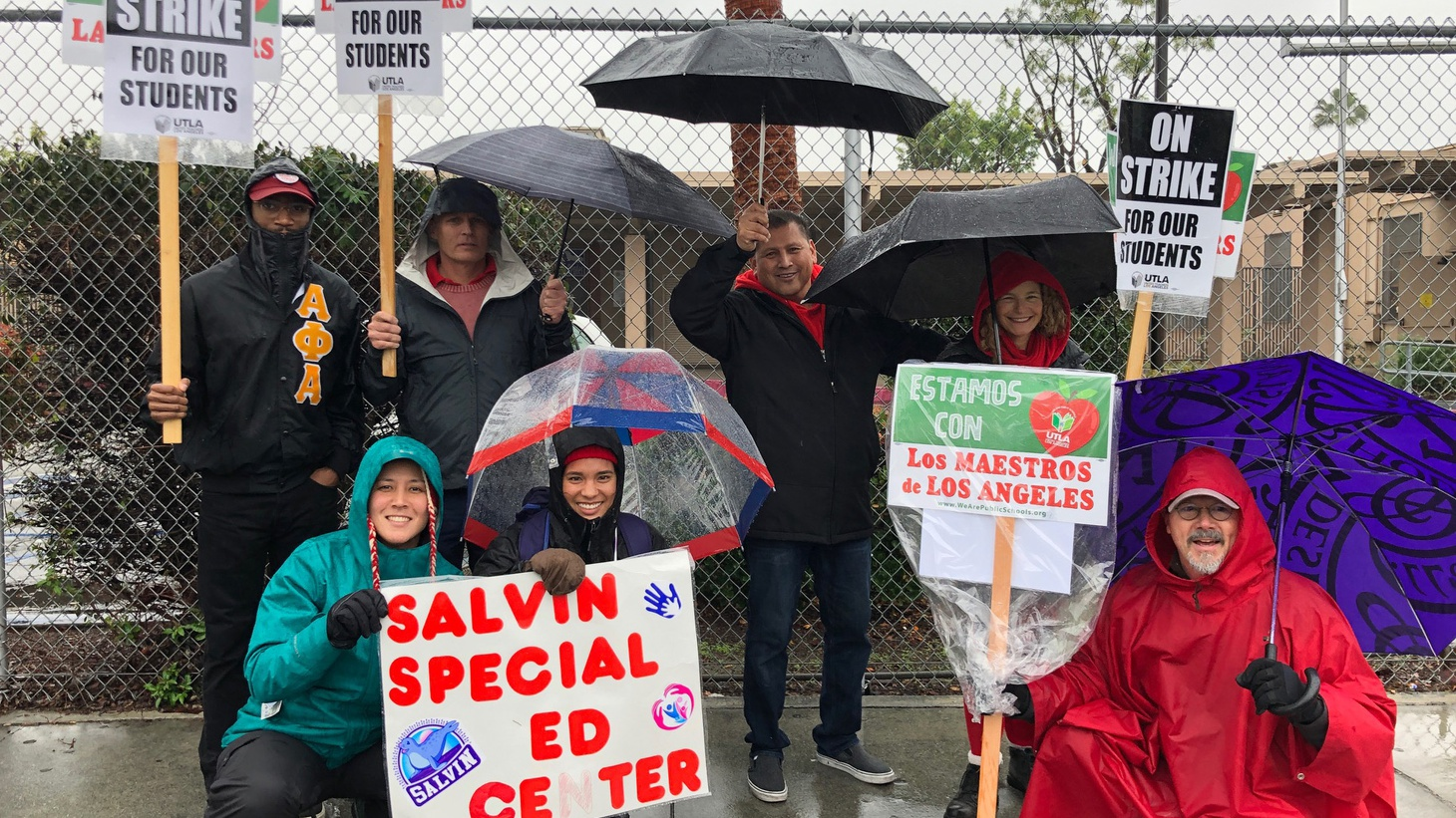 Special ed teachers striking at Salvin special education center.