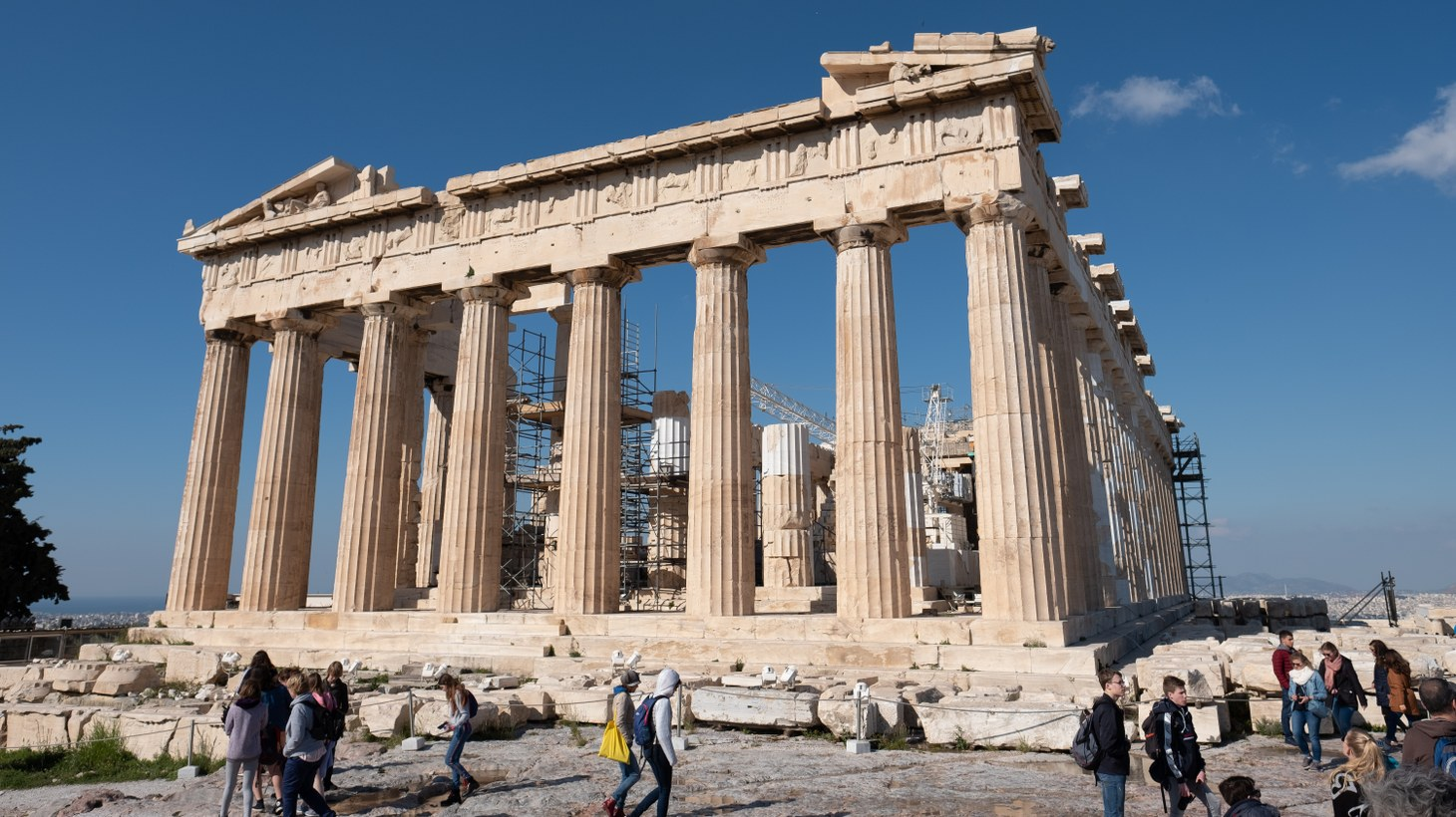 Tourists at the Parthenon in Athens, Greece, April 2019.