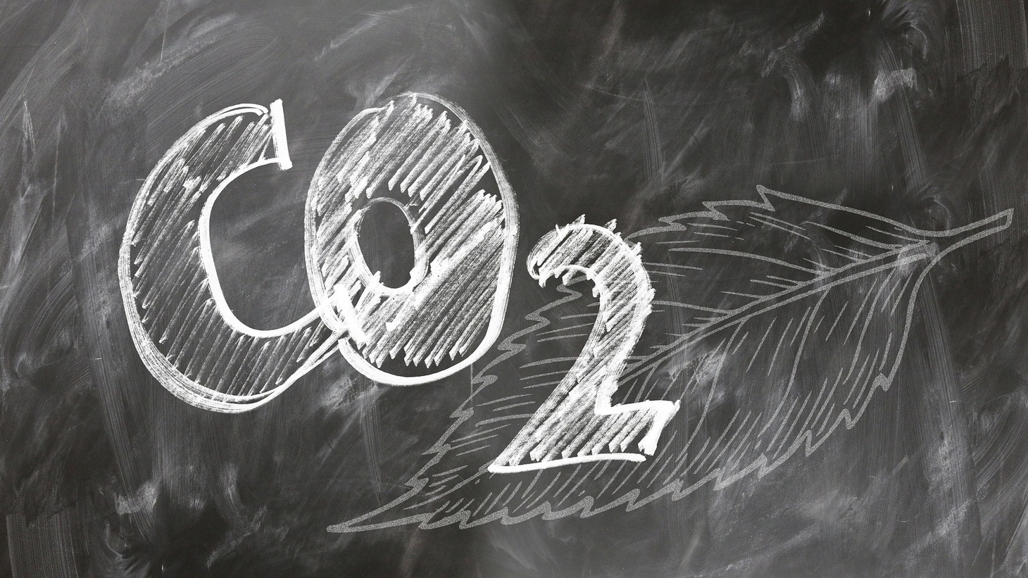 CO2 on a chalkboard.