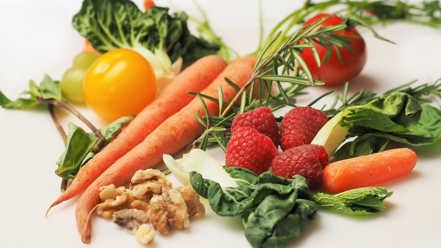 Vegetables, nuts, and fruit.
