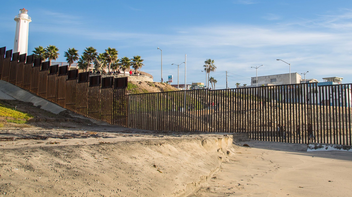 Border Field State Park/Imperial Beach, San Diego, California. The fence between the USA and Mexico along the Pacific Ocean just south of San Diego.