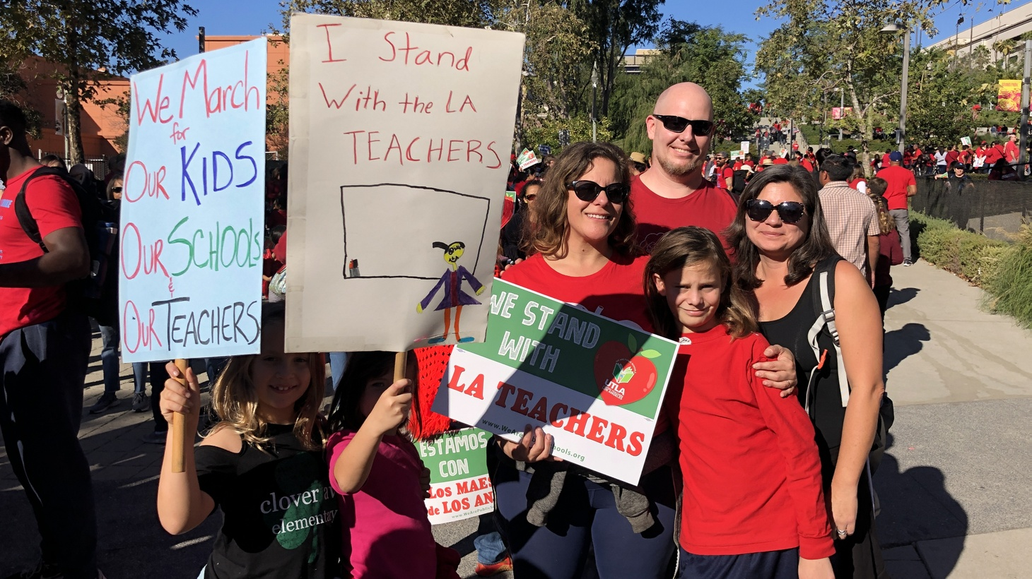 """Parents and students at Clover Avenue Elementary march in support of the LAUSD teachers and to shed light on the """"Charter issue we have here in LA."""""""