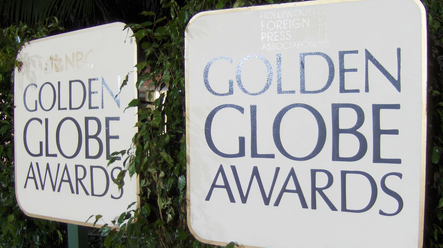 Signs for the annual Golden Globe Awards on NBC.