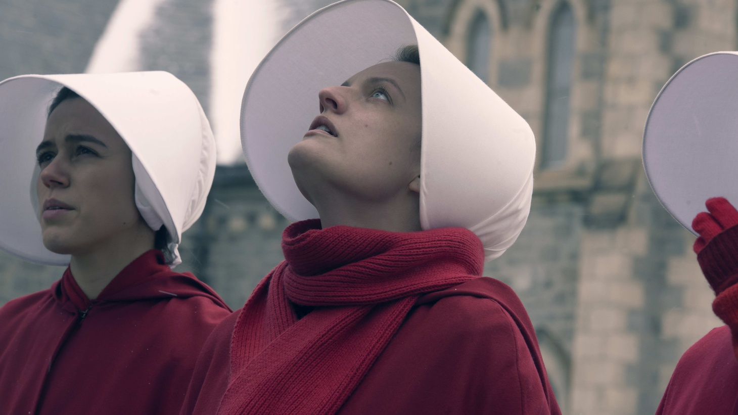 "Actress Elizabeth Moss in episode 303, ""Watch Out,"" of The Handmaid's Tale."