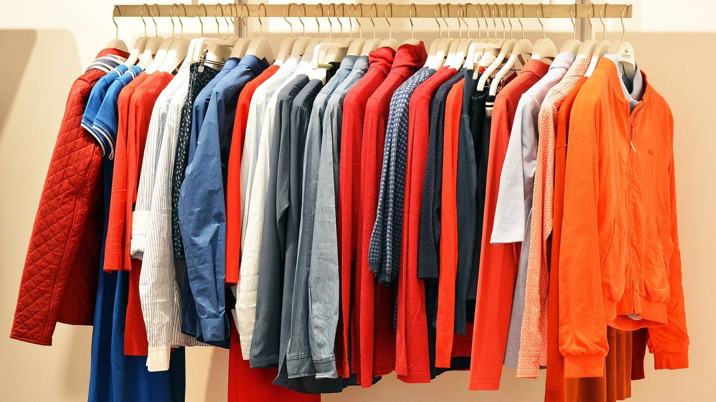 A rack of clothing.