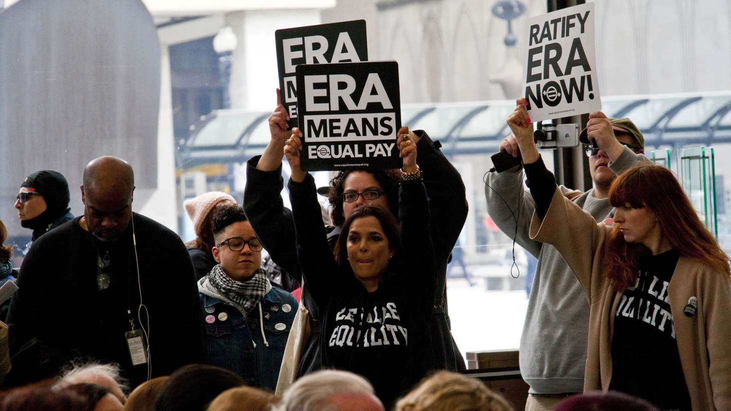Activists pushing for the ratification of the Equal Rights Amendment in Chicago, Illinois, 2018.