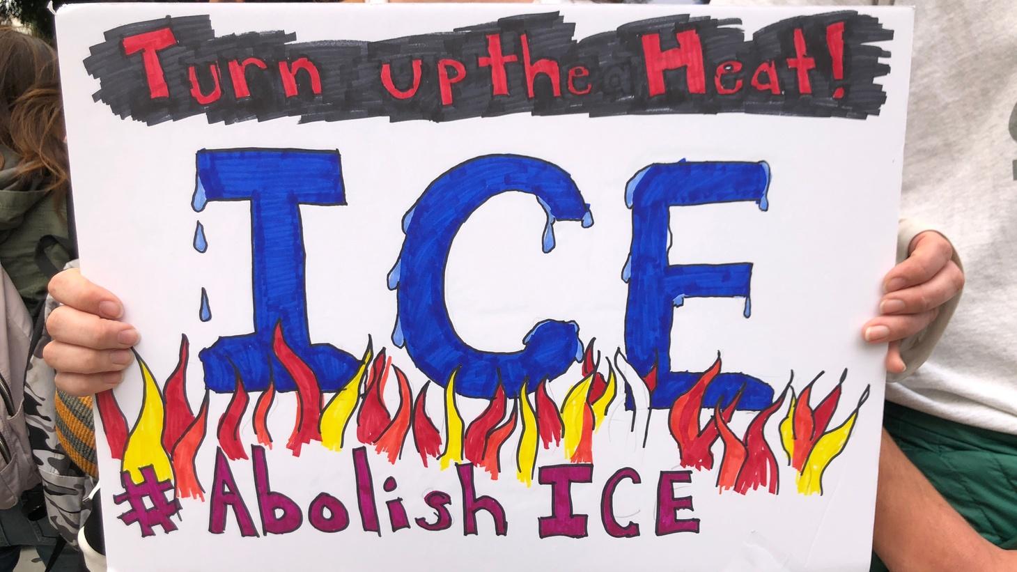 """""""Abolish ICE"""" sign."""