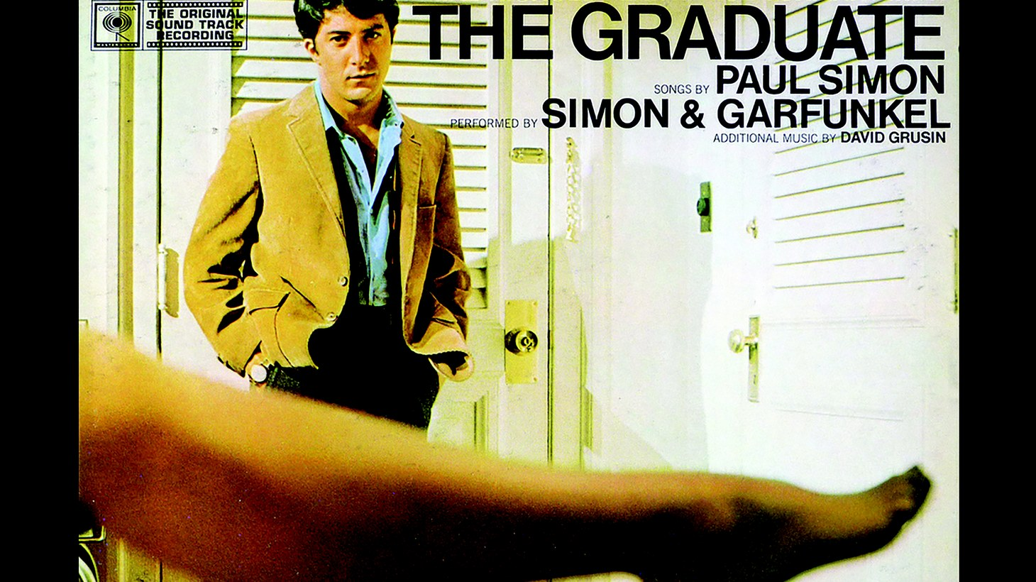 """Robert Gober: The Graduate,"" 2015, by Gary Cannone, a mock album cover inserts a sculpture of a leg by Robert Gober into the cover for the soundtrack for ""The Graduate."""