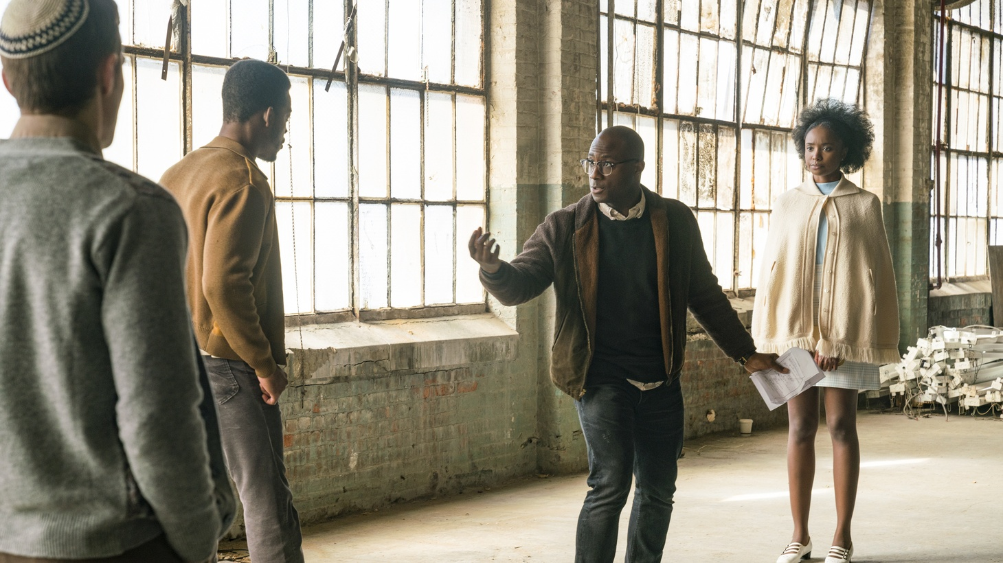 """Actor Stephan James, director Barry Jenkins, and actor KiKi Layne on the set of """"If Beale Street Could Talk."""""""