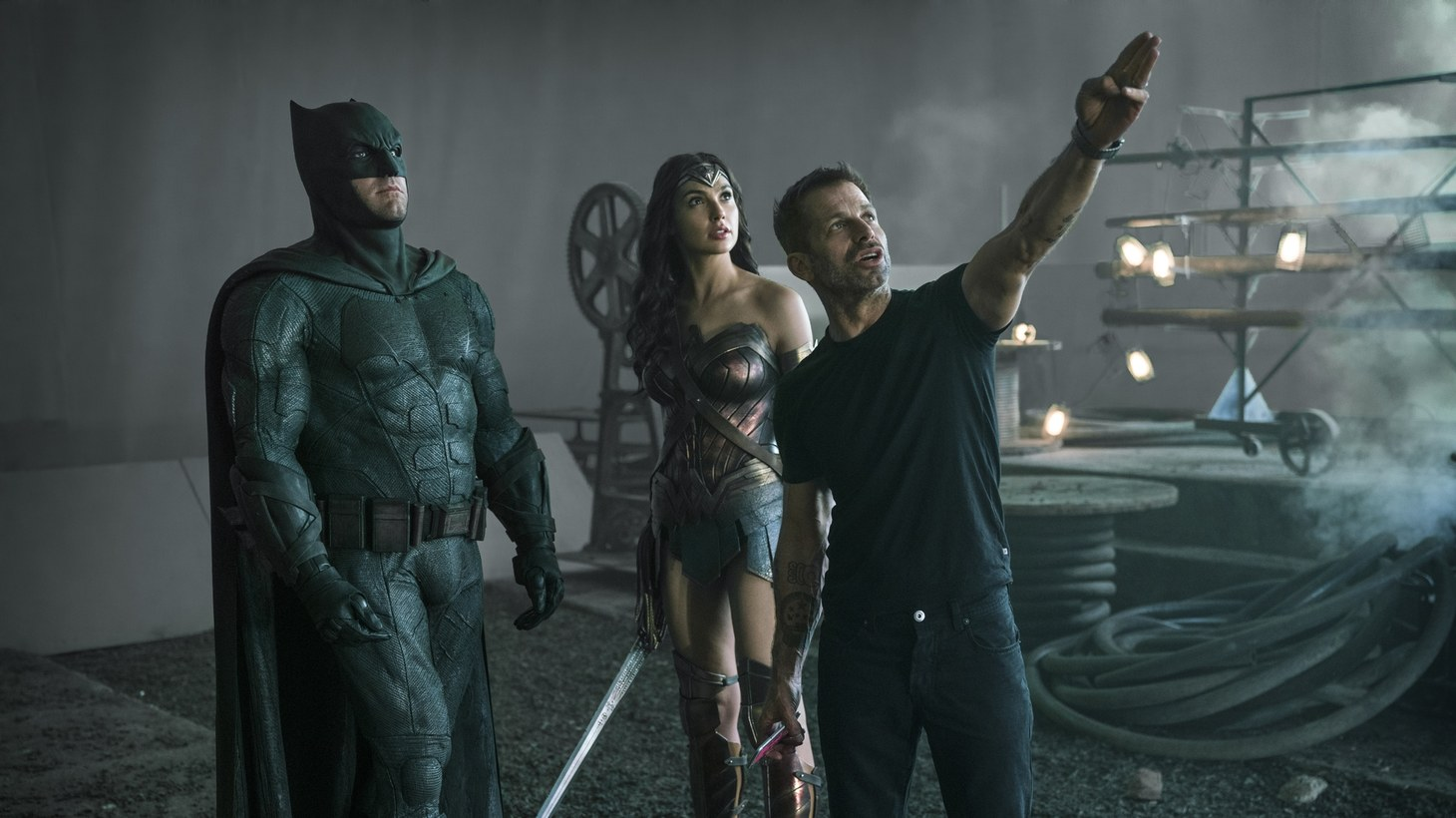 "Ben Affleck (Batman / Bruce Wayne), Gal Gadot (Diana Prince / Wonder Woman), and Zack Snyder (Director) on the set of ""The Snyder Cut."""
