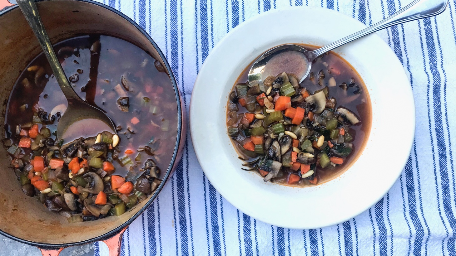Evan Kleiman's Almost Instant Mushroom Soup is easy to make, and the recipe can also be used as a condiment for a delicious mushroom risotto or as a base for stroganoff. If you use less liquid, it becomes a great pasta sauce or base for lasagne.