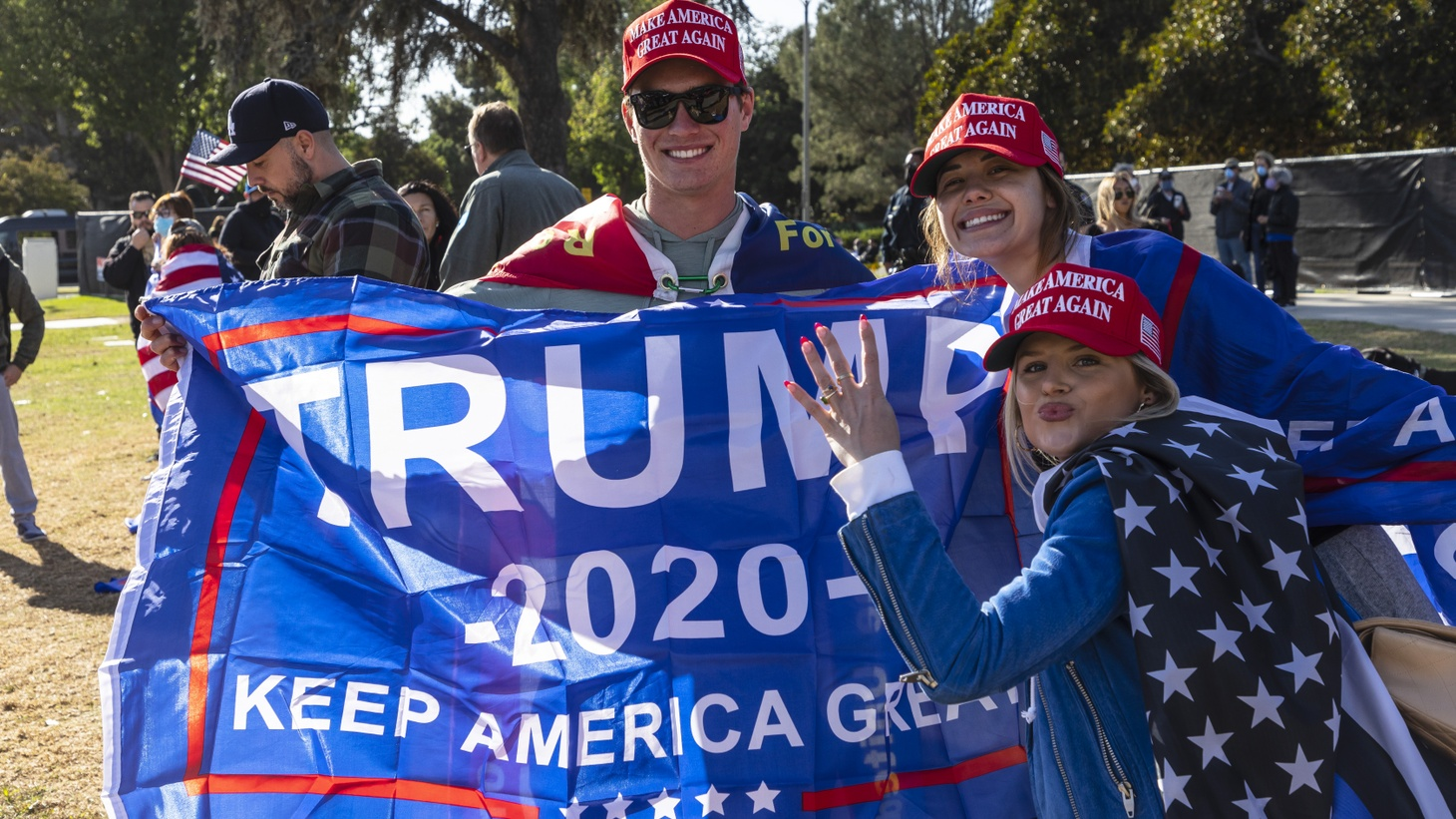 "Trump supporters wear ""Make America Great Again"" hats during a ""Stop the Steal"" rally in Beverly Hills, November 8, 2020."