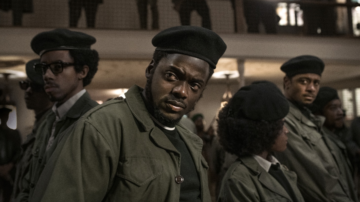 """(L-R) Darrell Britt-Gibson as Bobby Rush, Daniel Kaluuya as Chairman Fred Hampton and Lakeith Stanfield as in """"Judas and the Black Messiah."""""""