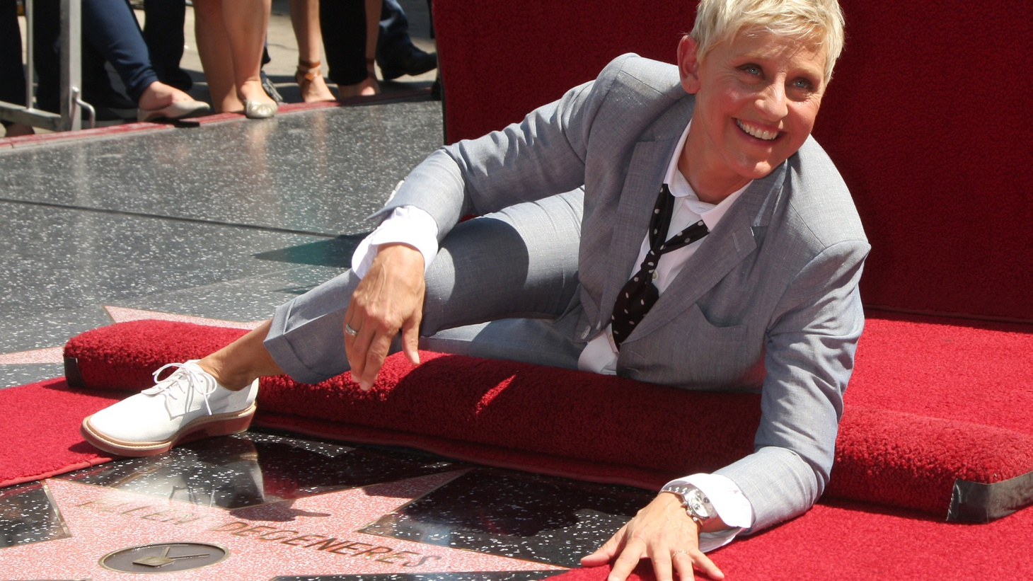 Ellen DeGeneres appears next to her star at the Hollywood Walk of Fame in Los Angeles, CA. Her talk show is now in its last season.