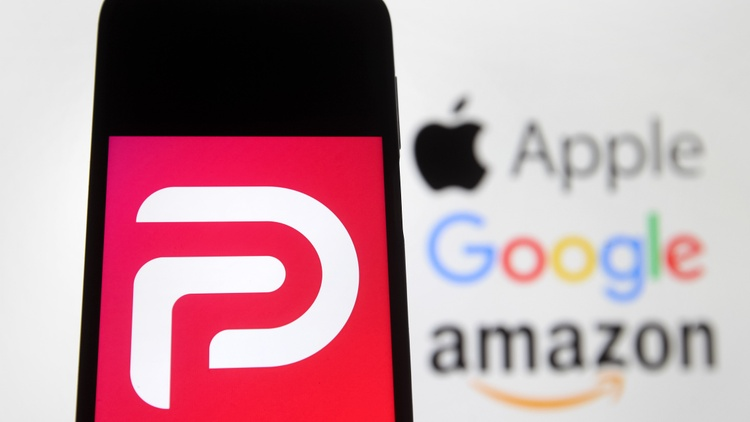 The social media app Parler is suing Amazon. Over the weekend, Amazon Web Services took Parler offline. Amazon said Parler didn't do enough to curb violent threats.