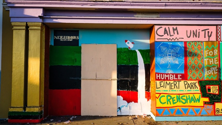 """Kwasi Boyd-Bouldin tells stories of the changing landscape of Leimert Park and the Crenshaw District. His photo collection is """"Black Space: Los Angeles."""""""