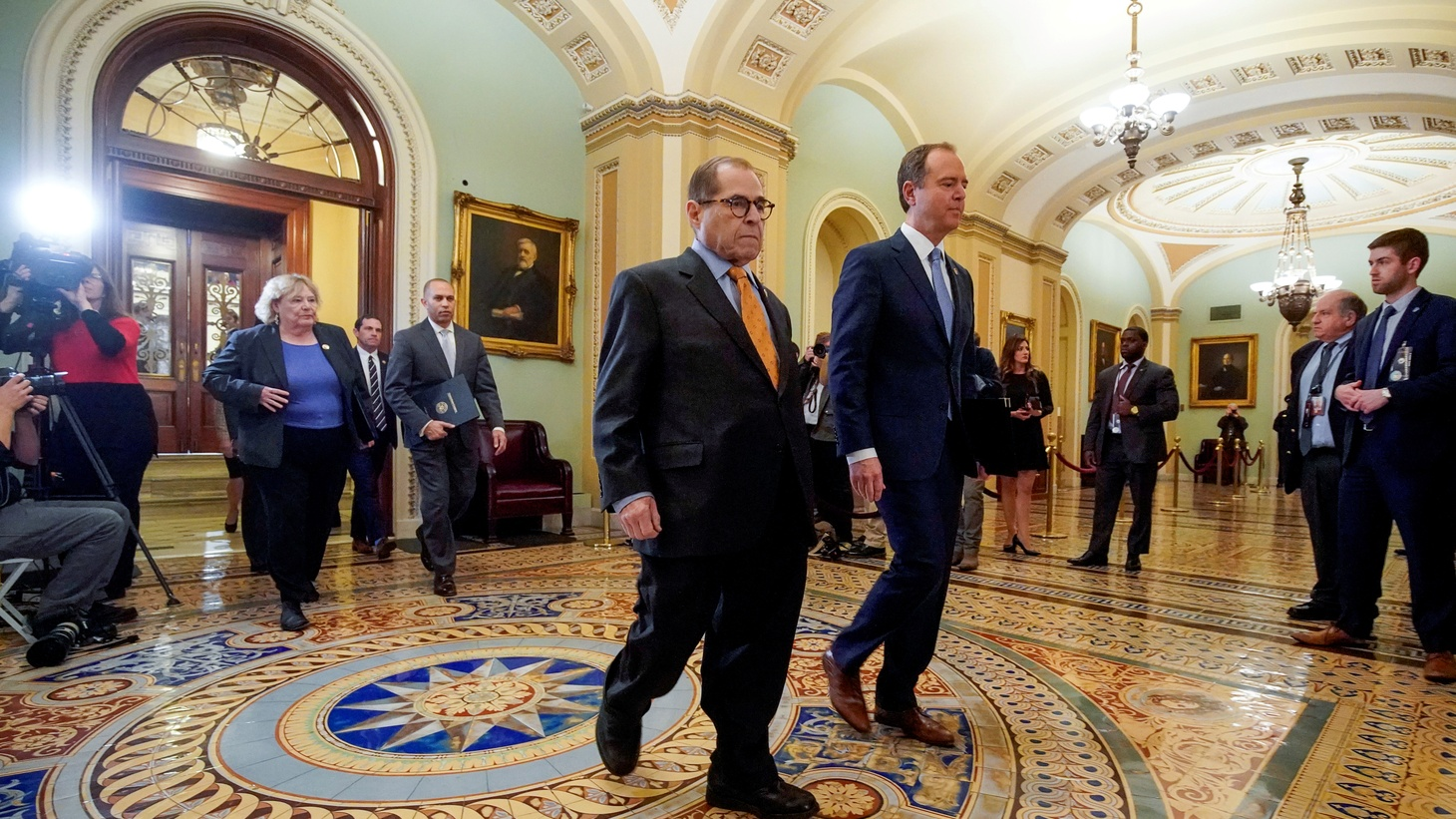 House impeachment managers, including Rep. Zoe Lofgren (D-CA); Rep. Jason Crow (D-CO); House Democratic Caucus Chairman Hakeem Jeffries (D-NY); House Judiciary Committee Chairman Jerrold Nadler (D-NY); and lead manager House Intelligence Committee Chairman Adam Schiff (D-CA), walk through the Ohio Clock Corridor as they arrive for the procedural start of the Senate impeachment trial of U.S. President Donald Trump at the U.S. Capitol in Washington, U.S., January 16, 2020.