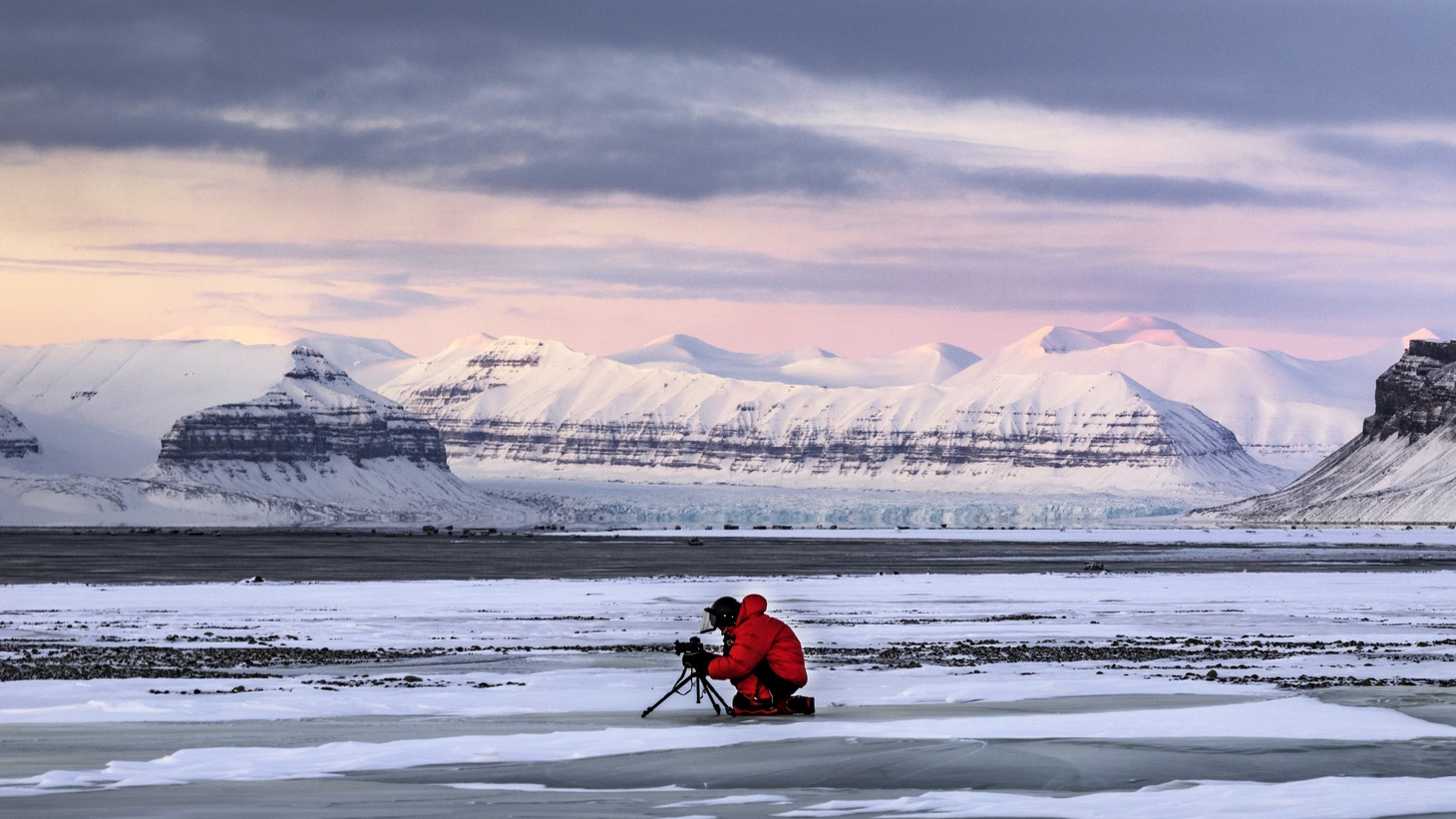 Camera Operator Steve Gute photographs the Tempelfyorden, Svalbard, Norwegian Territory.