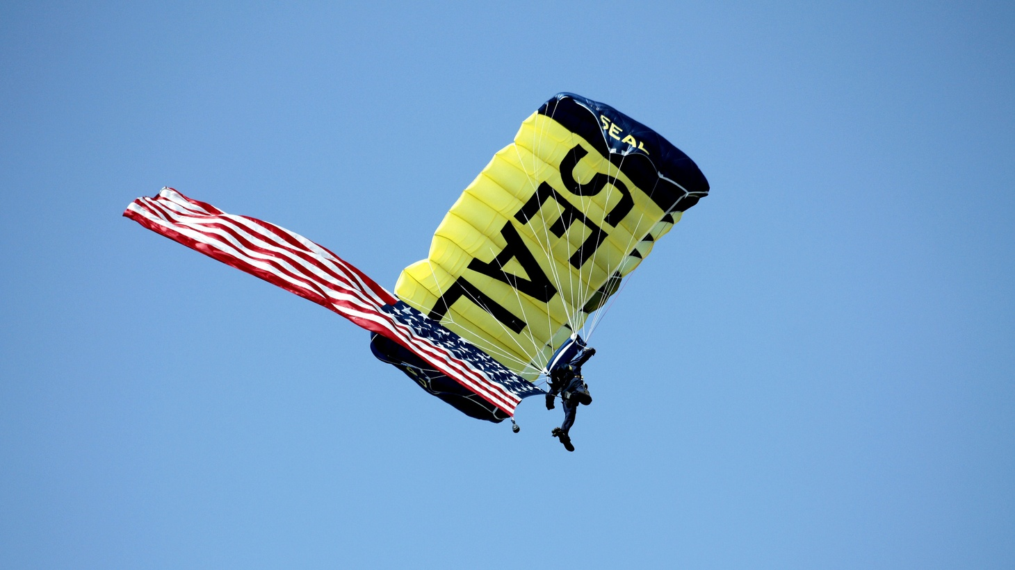 A member of the U.S. Navy Seals parachute team.