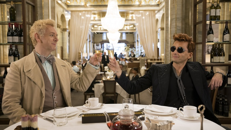 """An angel and a demon working together to save the world -- that's the plot of Neil Gaiman and Terry Pratchett's fantasy    novel    """"Good Omens: The Nice and Accurate Prophecies of…"""