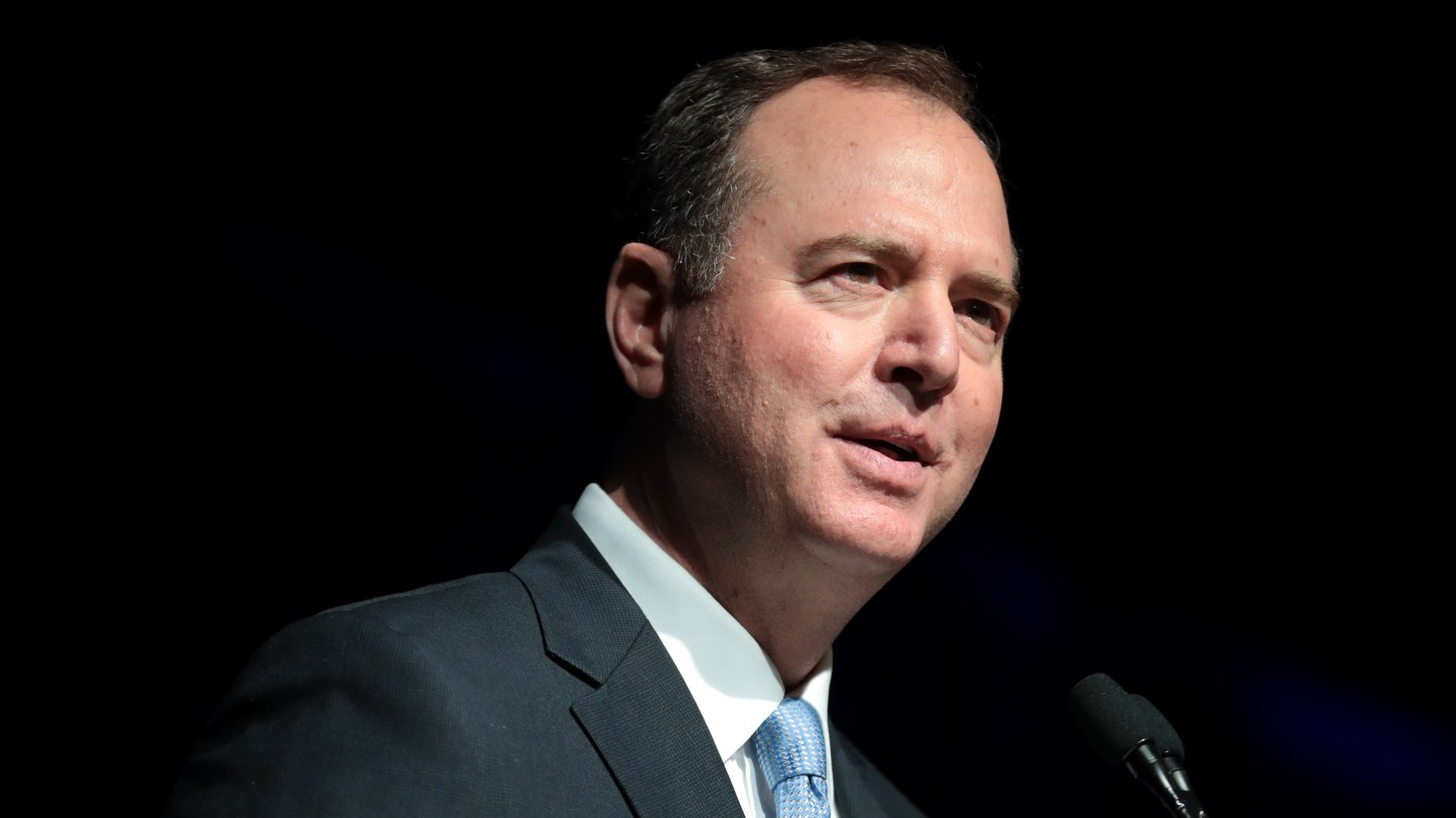 U.S. Congressman Adam Schiff speaking with attendees at the 2019 California Democratic Party State Convention at the George R. Moscone Convention Center in San Francisco, California.
